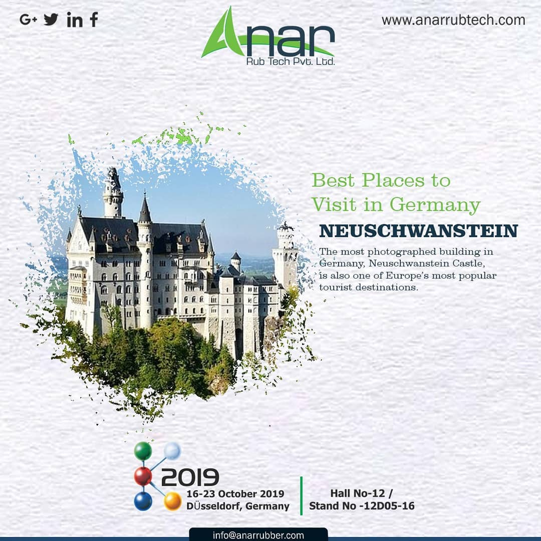 When you don't know what to see in Germany start with NEUSCHWANSTEIN. This place is Europe's most popular tourist destinations. #AnarRubTech #k2019 #germany #Germanyvisitingplace #RubberRollerManufacturer #exhibitation  #RubberRollerExporters #airchuck  #RubberRollerSuppliers #airshaft