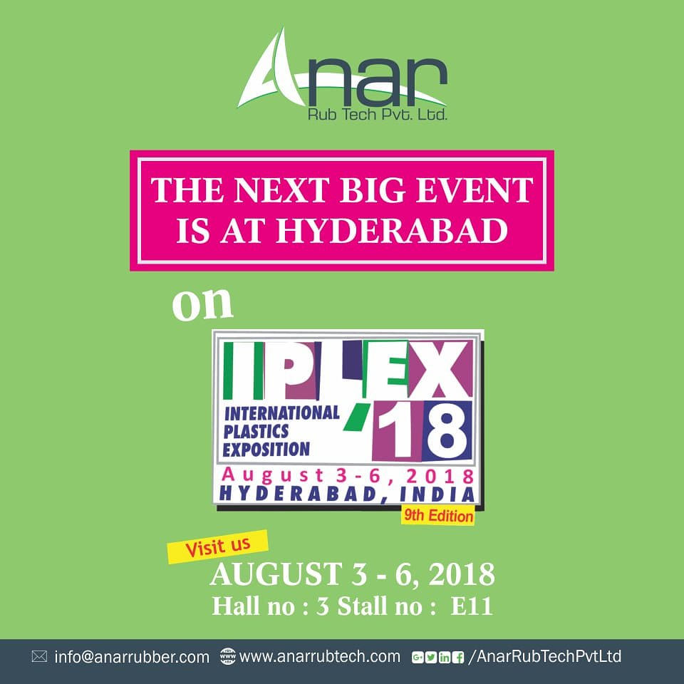 Hello Hyderabad!Anar Rub Tech's next mega event is at IPLEX, 2018, Hyderabad. You can meet us there between 3rd to 6th July at Hall 3 Stall no. E11. Visit us without fail.  #anarrubtech #packplus2018 https://t.co/4ADW2EfzFV